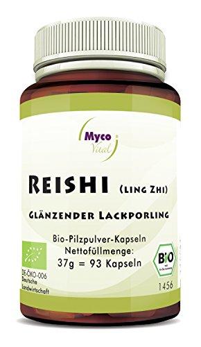 MycoVital Bio Reishi Pilzpulver-Kapseln 93 Stück je 400 mg aus deutschem Anbau - Superfood zum Immunsystem stärke - 100% Vegan & Ohne Zusätze