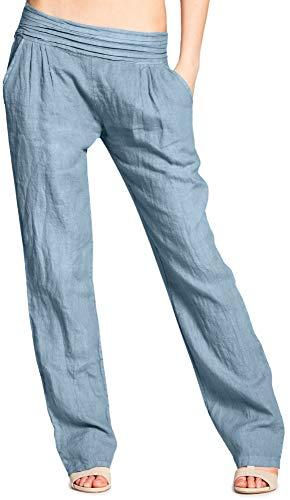 Caspar KHS020 Pantalones de Lino para Mujer con Corte Holgado Ideal para Verano, Color:Azul Vaquero;Tamaño:40 L UK12 US10
