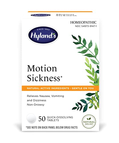 Motion Sickness, Nausea Relief Tablets, All Natural Treatment for Car Sickness and Sea Sickness, 50 Count