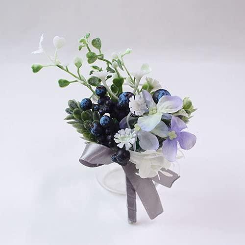 HLH Romántico Boda Boda Boutonnieres y Muñeca Seda Rosa Rosa Mano Flores De Bridesma Muñeca Flor Azul Bouquet Bouquet Accesorio (Color : 7)