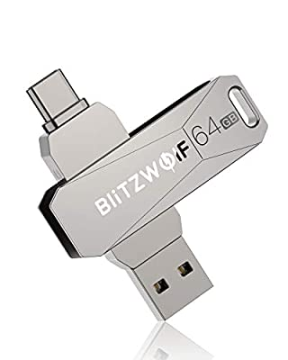BlitzWolf USB C Memory Stick 64GB, USB 3.0 Type C USB Flash Drive, OTG High Speed Thumb Drive Mini USB Drive Compatible with Type-C Smart Phone, Tablet PC Devices (Silvery)