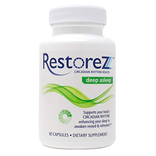 RestoreZ Deep Asleep (60 Capsules) Natural Sleep Supplement - Combat Nighttime Disruptions and Restore Your Sleep - Non-Habit Forming Sleep Aid