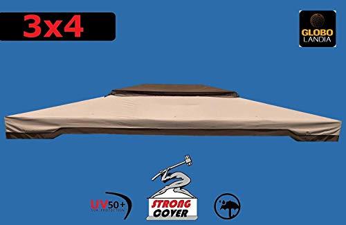 Telo Copertura Gazebo 3X4 400 GR Ricambio Camino Antivento Antipioggia 3 X 4 PVC