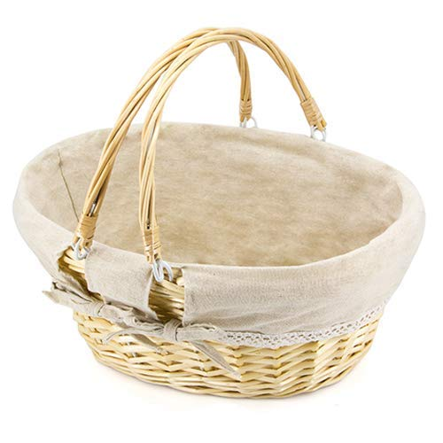 Durior Wicker Basket Woven Picnic Basket Food And Fruit Serving Baskets Oval Round Handwoven Willow Easter Basket with Double Drop Down Handles Household Essentials 15.5' L 11.5' W 7' H(Natural)