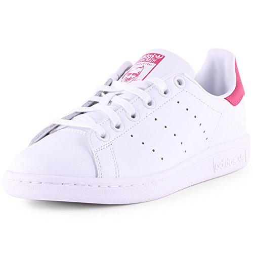 Adidas Stan Smith, Scarpe da ginnastica Unisex-Bambini, Footwear White Footwear White Bold Pink, 38 2/3 EU