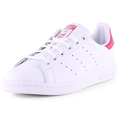 adidas Stan Smith J, Baskets Mixte Enfant, Cloud White/Cloud White/Bold Pink, 35.5 EU
