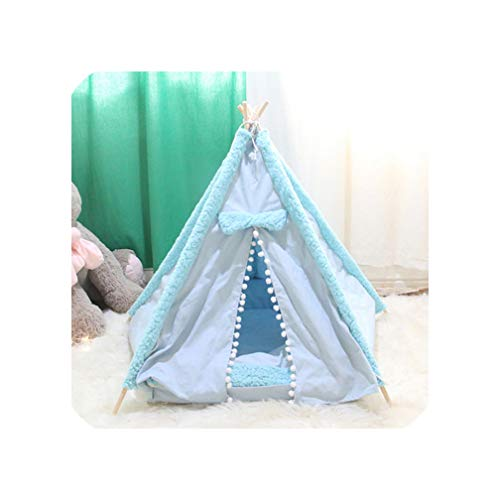 Portable Dog Tent Pet Teepee Foldable Cat Tent Dog Kennel Puppy Bed House Washable Cushion Contain Super Thick Mats-50Cmx50Cmx60Cm-M