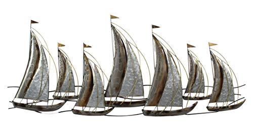 DARO DEKO Metall Wand-Bild Schiffe 130 x 55cm