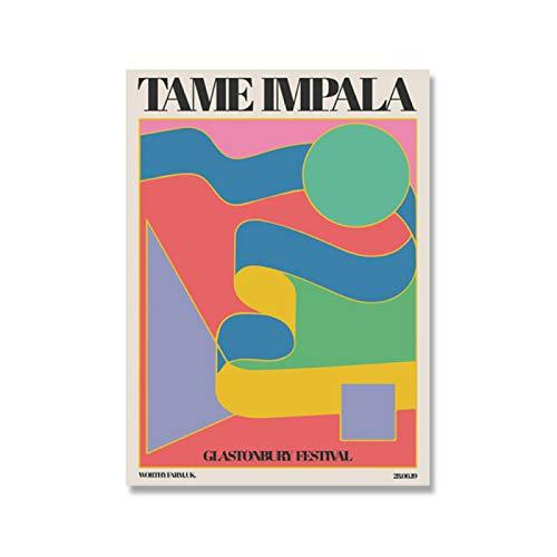 Tame Impala At Glastonbury Gig Poster Vintage colorido lienzo pintura Retro cuadros de pared para la decoración del hogar de la sala de estar