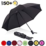 ABCCANOPY Umbrella Compact Rain&Wind Teflon Repellent Umbrellas Sun Protection with Black Glue Anti UV Coating Travel Auto Folding Umbrella, Blocking UV 99.98%,black