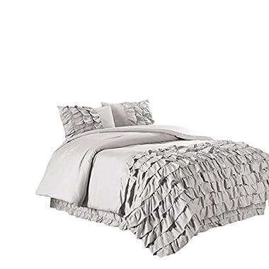 Chezmoi Collection Ella 2-piece Ruffle Waterfall Comforter Set (Twin, Grey)