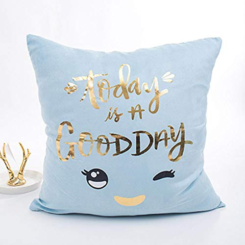 MZW Blue Pillow Cover Soft Gold Foil Girls Room Heart Pineapple Cushion Cover For Sofa Bed 43x43cm Zip Open,Eyes