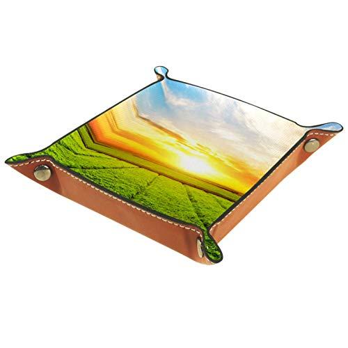 FURINKAZAN Bandeja de valet para cambio de mesita de noche, diseño de paisaje de prado