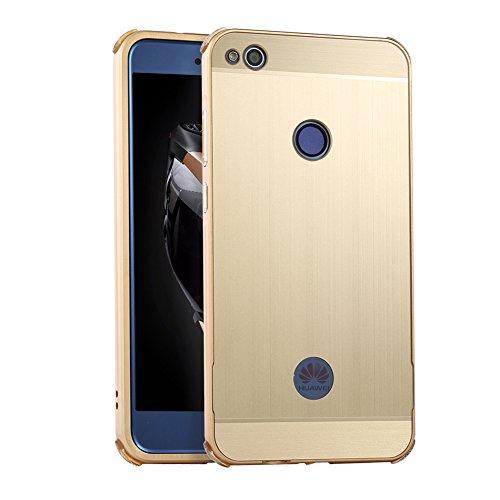Huphant Compatible for Huawei P8 Lite 2017 Hülle, Huawei P8 Lite 2017 Metall Hülle, Premium Aluminium Schutzhülle Aluminium Hülle 2 in 1 Slim Case für Huawei P8 Lite 2017(5,2 Zoll) - Luxury Gold