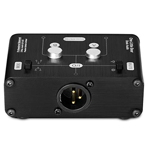 Mini 2 Way HiFi Stereo Audio XLR A/B Passive Switcher Box & Mixer Sound Splitter (2-IN-1-OUT)