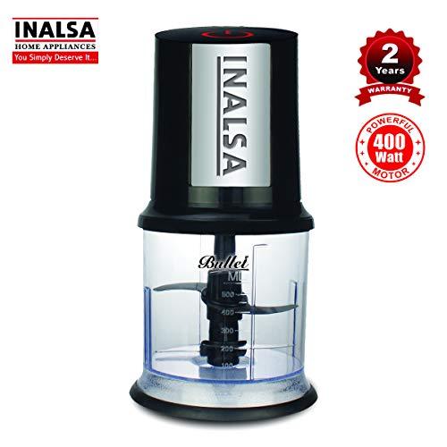 Inalsa Robot Inox 1000, 1000 Watt Hand Blender with 600 ml Multipurpose Jar, Variable Speed, LED Light, 2 Year Warranty (Silver/Black) & Inalsa Bullet 400-Watt Electric Chopper