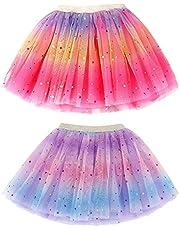 Girl Tutu 2 Pack Tutus for Girls Rainbow Princess Tutu Ballet Tutu Toddler Tutu Skirt for 6-8 Years, Rose+Light Purple