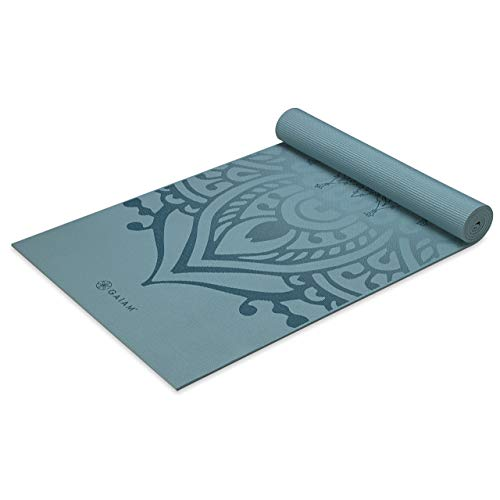 Gaiam Yoga Mat Premium Print Extra Thick Non Slip Exercise & Fitness Mat for All Types of Yoga, Pilates & Floor Workouts, Niagara, 6mm