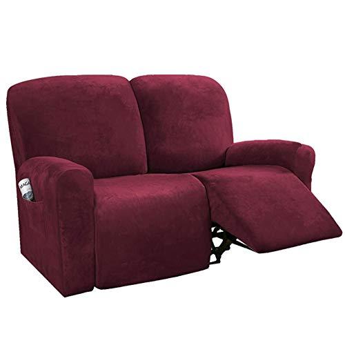 Sesselbezug Stretch Samt, Sesselschoner Für Relaxsessel, Sesselüberwürfe Bezug Für Fernsehsessel Liege Sessel, Liegestuhl Abdeckung Unabhängig (2-Sitzer,Weinrot)