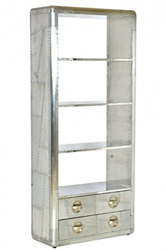 Casa Padrino libreria in Alluminio dal Design cassetti - Vintage mobili Art Deco volantino Luxury Designer Aluminum Bookcase with Drawers - Art Deco Vintage Aviator Furniture