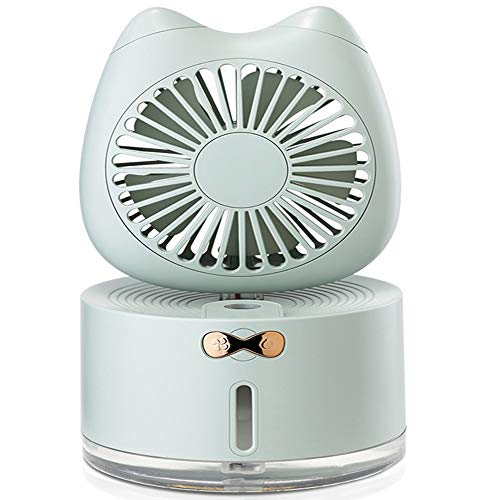 Portable Air Conditioner Fan, Personal Space Air Cooler Quiet Desk Fan Mini Evaporative Cooler With 7 Colors Night Light, Air Circulator Humidifier Misting Fan, For Home Office Bedroom