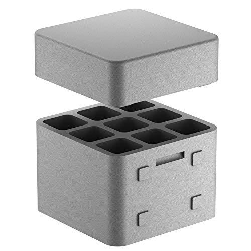 CLIMAPOR Getränkekühler Cube mit Deckel aus Styropor, grau - für 9 Flaschen max. Ø 9 cm, 1 Stück - optimal für Camping oder Gartenpartys