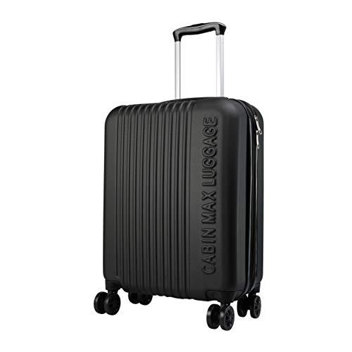 Cabin Max Velocity - Maleta para Equipaje de Cabina Ligera | Trolley de ABS con Ruedas de 55 x 40 x 20 cm Extensible a 55 x 40 x 25 cm Aprobado para Vuelo en Ryanair, EasyJet, BA (Classic Black)