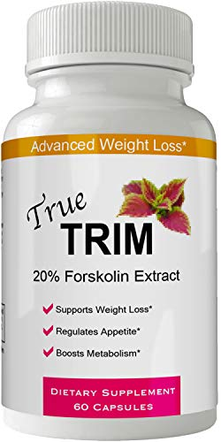 True Trim Forskolin for Weight Loss Diet Pills Supplement Capsules with Premium Forskolin Extract Tablets