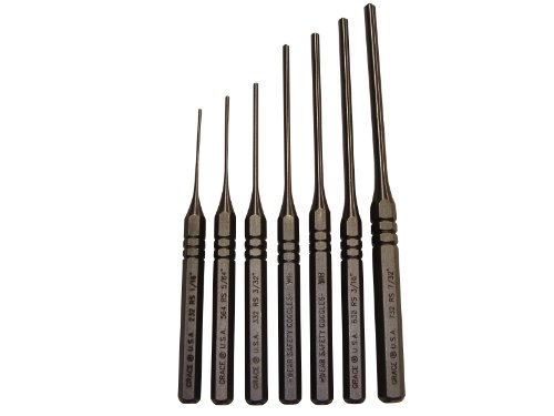 Grace USA RS-7 - Steel Roll Spring Punch Set - RS7 - Gunsmithing - Steel Punches - 7 piece - Gunsmith Tools & Accessories