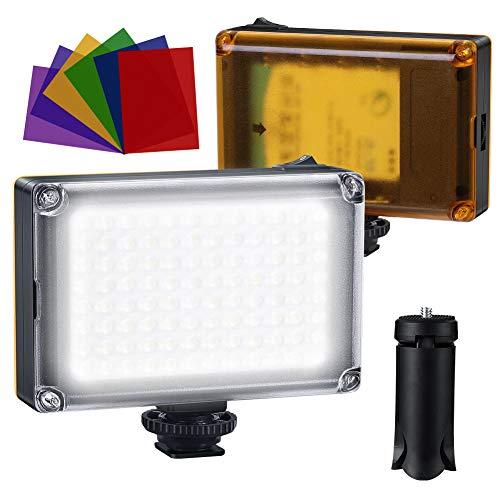 Luce Fotografica a LED, Luce Video, 96LED Dimmerabili Super Luminosi 3200-5600K, 6 Filtri Colorati,con batteria ricaricabile 2500mAh,per Fotocamere DSLR,Con Un Mini Treppiede