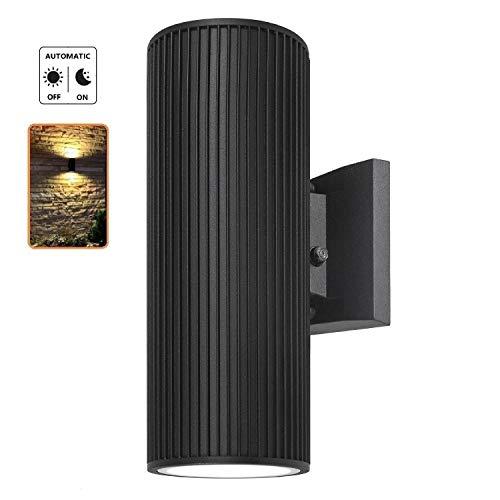 Dusk to Dawn Sensor Outdoor Wall Light, ZUUKOLE Exterior Lighting - ETL Listed, Die-Casting Aluminum Waterproof Wall Mount Cylinder Design - Up Down Light Fixture for Porch, Garage, Garden and Patio