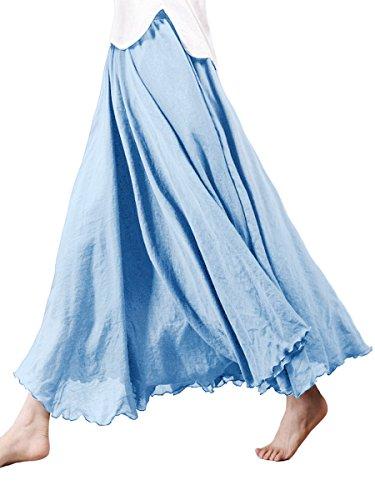Damen Baumwolle Lange Rock Tellerrock Maxirock Doppelt Genäht Elastischer Bund - Einfarbig Himmelblau Länge 95cm