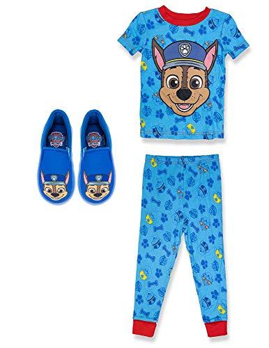 Paw Patrol Boy's PJs with Slipper, 3 Pc Set, 100% Cotton,Toddler Boy 3T Blue
