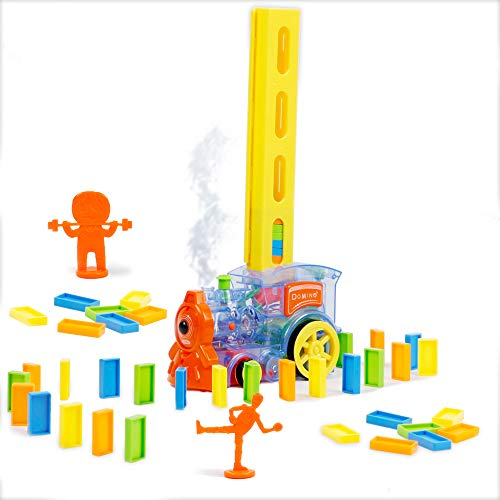 DR.DUDU Domino Train Toy with Smoke Blocks Set, Automatic Building and Stacking, Educational Toys, Suitable for Children Kids Boys Girls Aged 3-7, 2 AA Batteries Need ( Not Include)