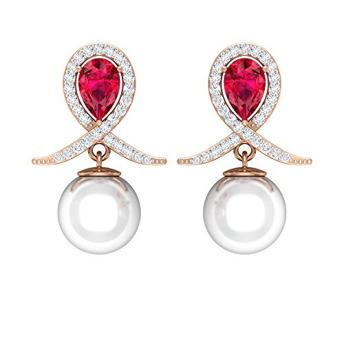 Vintage Dangle Earring, 1 CT Ruby Solitaire Earring, 8 CT 8 MM Fresh Water Pearl Stud Earring, HI-SI 1/4 CT Round Shape Diamond Earring, Unique Wedding Earring, 18K Rose Gold, Pair