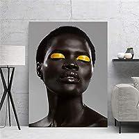 家の装飾プリントアフリカの女の子カラーメイクキャンバス絵画壁アートモダンポスターファッションモジュラー画像リビングルーム50x70cm-フレームなし