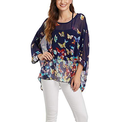 Wiwish Women's Bohemian Style Batwing Sleeve Butterfly Printed Chiffon Caftan Poncho Tunic Top Beach Loose Shirt (Butterfly)