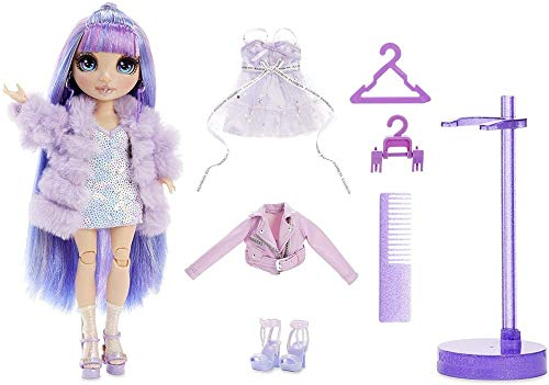Rainbow High Collectible Fashion Dolls - Abiti Firmati, Accessori e Supporto - Violet Willow - Serie Rainbow High