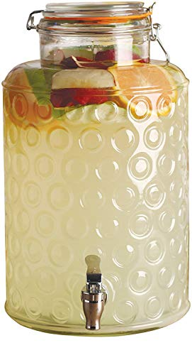 Circleware 92010 Circles Glass Beverage Dispenser with Locking Lid, Fun Party Entertainment Home & Kitchen Glassware Water Pitcher for Juice, Beer, Kombucha and Cold Drinks, Hermetic, Huge 2.5 Gallon