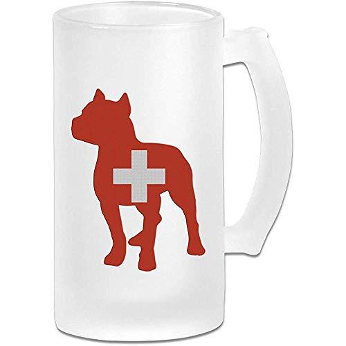 Jarra de cerveza patriótica de la bandera de Suiza de Pitbull Jarra de cerveza esmerilada - Taza de pub personalizada personalizada - Regalo para su bebedor de cerveza favorito