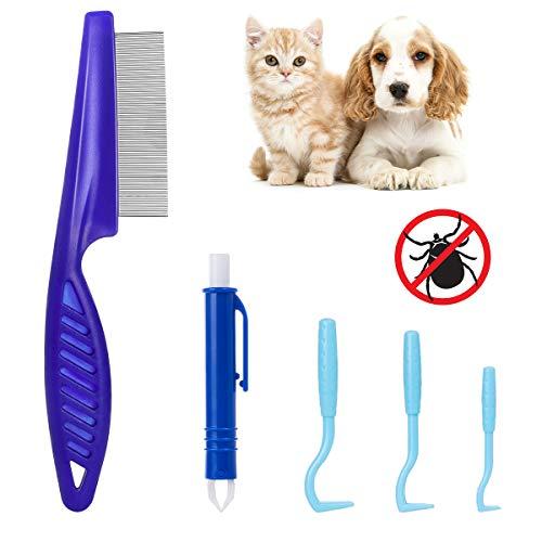 MELLIEX Pinza Zecche di Professionale per Animali, Cani e Gatti, con 3 Pezzi di Gancio per Zecche in Plastica, 1 Pezzo di Pinze Zecche e Pettine Zecche