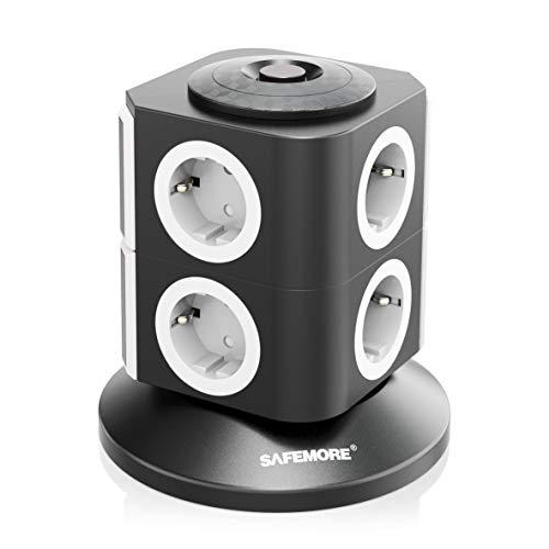 Steckdosenleiste SAFEMORE 8 Fach Schaltbare Mehrfachsteckdose Steckdosenturm Stromverteiler mit Überspannungsschutz und Blitzschutz 2500W/10A - 2m Kabel und Kindersicherung - Weiß + Schwarz