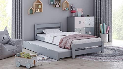 Children's Beds Home - Cama individual con nido - Simba para niños pequeños y adolescentes - Tamaño 190x90, color gris, colchón 10 cm de látex y fibra de coco