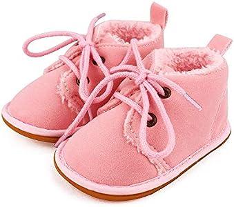 Lacofia Botas de Invierno de Suela de Goma para bebés niños o niñas Zapatillas de Deporte con Cordones para bebé Rosa 6-12 Meses