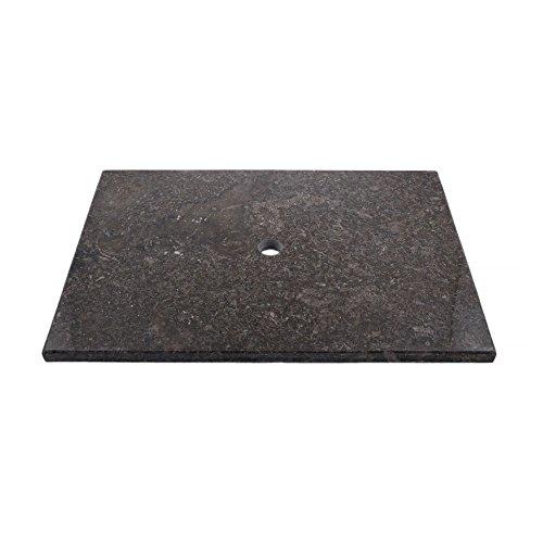 wohnfreuden Marmor Waschtisch-Platte Kathrin 80x55x3 cm schwarz Hochglanz poliert ✓ Naturstein-Platte für Waschbecken