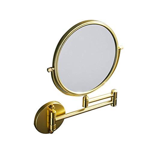 BXU-BG Maquillaje llevado espejo de espejo de maquillaje espejo colgado de la vendimia, cuero de la PU enmarcada Ronda Espejo Colgante con ajustable extensible Compatible with el dormitorio baño y sal