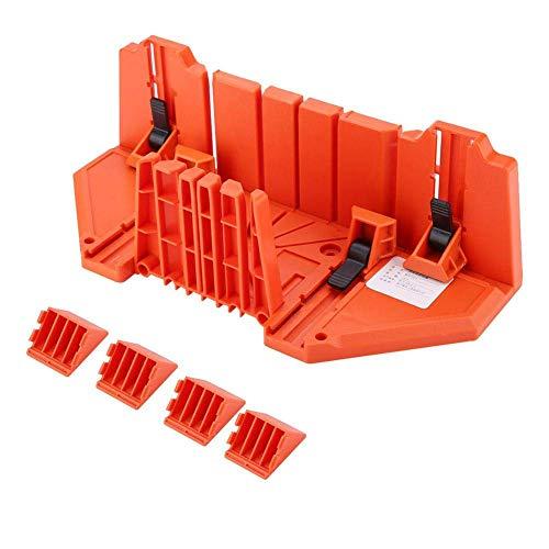 Caja de inglete de claming Caja de inglete de corte de sierra de plástico ABS de 14 pulgadas 0 ° 22,5 ° 45 ° 90 ° 4 tipos de ranuras angulares para podar Sierra de mano para cortar madera