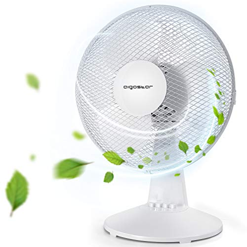 Aigostar Allace 33JTO - Ventilateur de table, 3 vitesses, 40W, 2.5kg, oscillation à 80 degrés....
