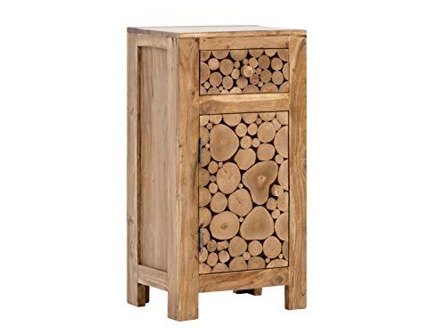 Woodkings Unterschrank Katha Holz Akazie rustikal Badunterschrank massiv Badmöbel Badezimmer Badezimmerunterschrank Badschrank Bad Unterschrank Baumscheibe Massivholz
