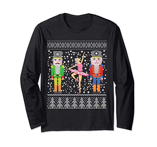 Suéter navideño feo de cascanueces en Navidad divertida Manga Larga